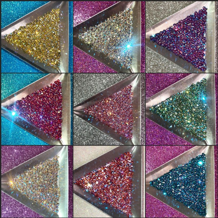 Mixed Pack of 150pc Swarovski Shimmer Flatbacks, Non-Hotfix, Mix Of Sizes SS5/SS9/SS12